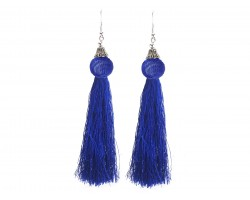 Blue Cloth Tassel Mesh Bead Silver Hook Earrings