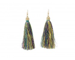 Mardi Gras Mix Cloth Short Tassel Gold Hook Earrings