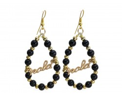 Gold NOLA Black Gold Bead Teardrop Earrings