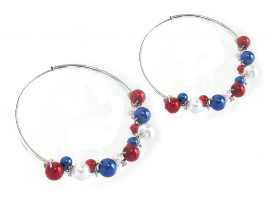 Red White Blue Pearl Wire Wrap Silver Tube Hoop Earring