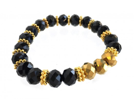 Black Gold Crystal Stretch Bracelet