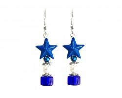 Blue Star White Pearl Blue Rondel Hook Earring