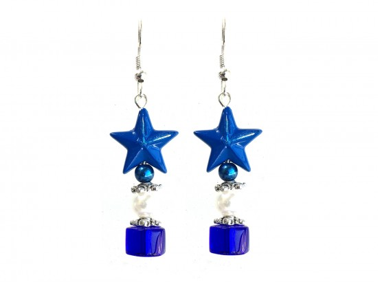 Blue Star White Pearl Blue Rondel Hook Earring