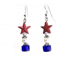 USA Star Red White Blue Rondel Red Star Hook Earring