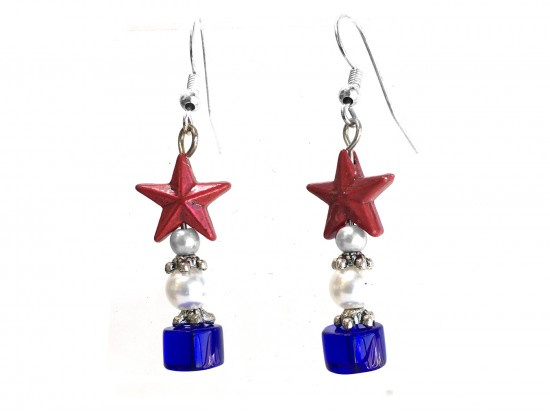 USA Star Red White Blue Rondel Red Star Hook Earring