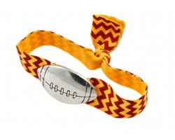 Red Yellow Chevron Silver Football Ribbon Bracelet