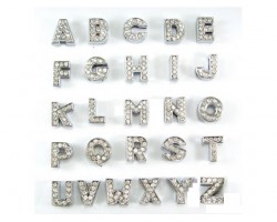 8mm Clear Crystal Silver Slide Letters