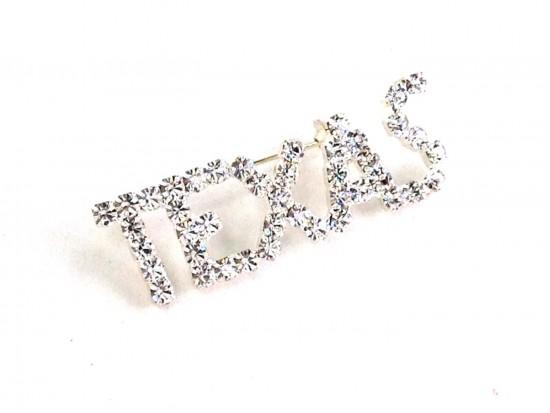 Clear Crystal Texas Silver Brooch Pin