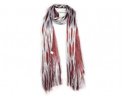 Maroon White Open Cut Shimmer Oblong Scarf