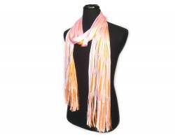 Orange White Open Cut Shimmer Oblong Scarf