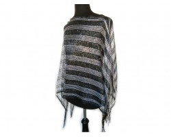 Black & Silver Striped Shimmer Poncho