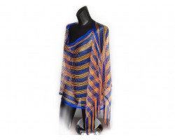 Blue & Orange Striped Shimmer Poncho