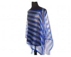 Blue & White Striped Shimmer Poncho