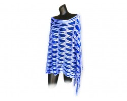 Blue & White Open Cut Shimmer Poncho