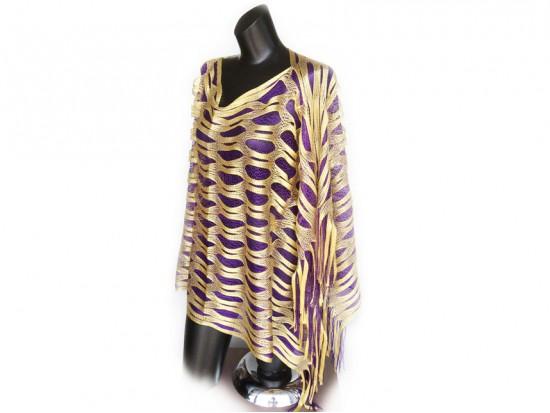 Purple & Yellow Open Cut Shimmer Poncho