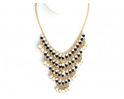 Black White Beaded Layered Chain Necklace Set