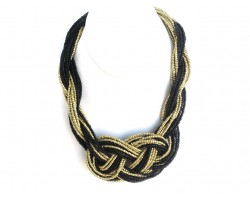 Black Gold Seed Bead Multi Strand Knot Necklace Set
