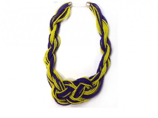 Purple Yellow Seed Bead Multi Strand Knot Necklace Set