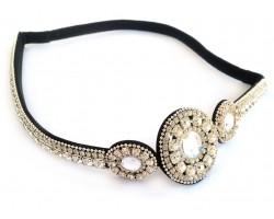 Clear Crystal 3 Circle Design Stretch Headband
