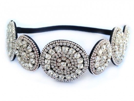 Clear Crystal Alternating Circles  Stretch Headband