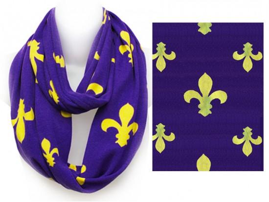 Purple Yellow Fleur De Lis Heavy Knit Infinity Scarf