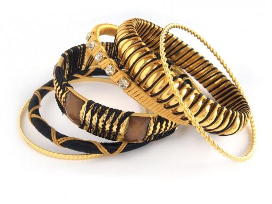 Black Gold Cord Bangle 6 Set