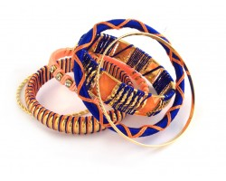 Blue Orange Cord Bangle 6 Set