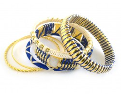 Blue White Cord Bangle 6 Set