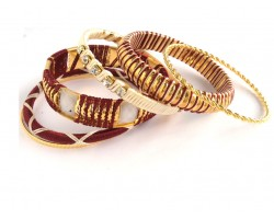 Maroon White Cord Bangle 6 Set