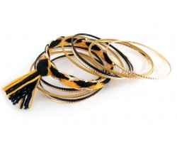 Black Gold Tassel Gold Thin Bangle 12 Set