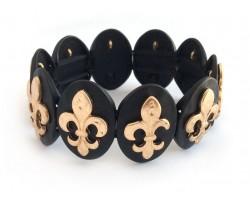 Gold Fleur De Lis Matte Black Oval Hammered Bracelet