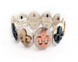Tr-Tone Fleur De Lis Silver Oval Hammered Bracelet