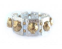 Gold Tigers Silver Rectangle Hammered Bracelet