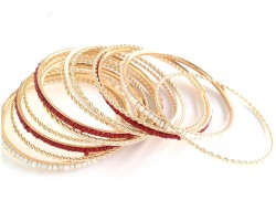 Maroon White Seed Bead Gold Thin Bangle 13 Set