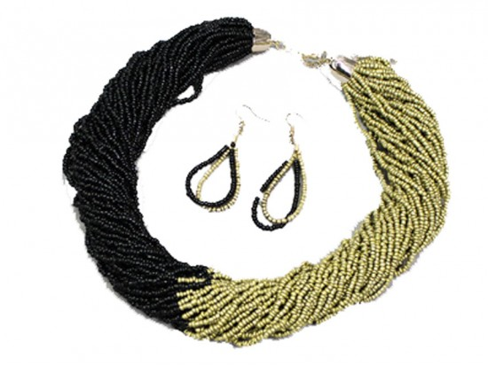 Black Gold Seed Bead Multi Strand Necklace Set