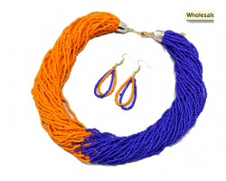 Orange Blue Seed Bead Multi Strand Necklace Set