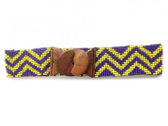 Purple Yellow Chevron Seed Bead Stretch Belt