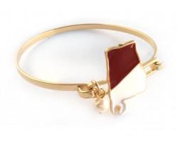 Red White Alabama State Map Pearl Cuff Bracelet