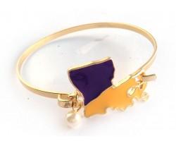 Purple Yellow Louisiana State Map Pearl Cuff Bracelet