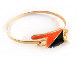 Orange Black Oklahoma State Map Pearl Cuff Bracelet