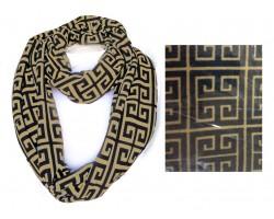 Black Gold Greek Key Heavy Jersey Knit Scarf