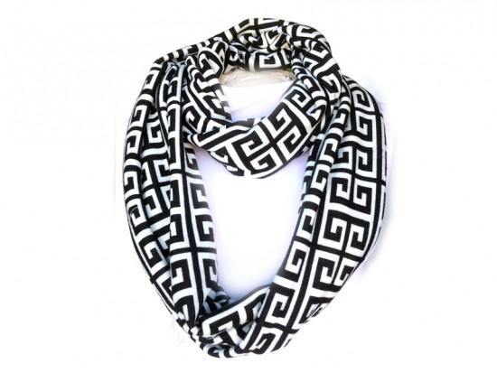 Black White Greek Key Heavy Jersey Knit Scarf