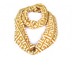 Brown White Greek Key Heavy Jersey Knit Scarf