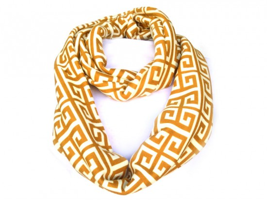 Brown White Greek Key Heavy Jersey Knit Scarf