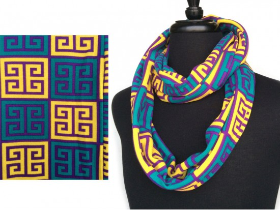 Mardi Gras Greek Key Heavy Jersey Knit Scarf