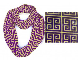 Purple Gold Greek Key Heavy Jersey Knit Scarf