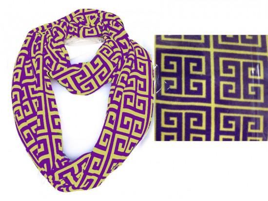 Purple Gold Greek Key Heavy Jersey Knit Scarf