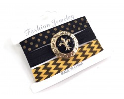 Black Gold Chevron Fleur 'de Lis Hair Tie Bracelet Set
