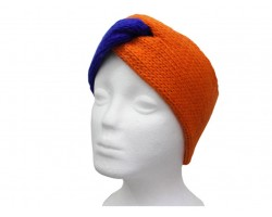 Blue Orange Crochet Knit Wrap Headband