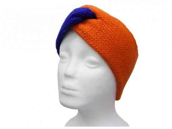 Blue Orange Crochet Knit Wrap Headband